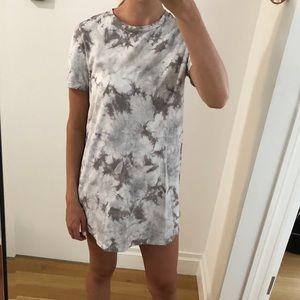 Gray tie dye t shirt dress size small